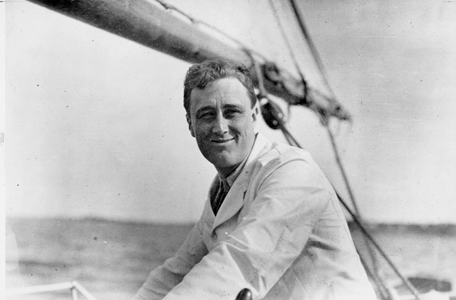 fdr smiling sailing black and white