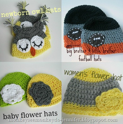 crochet hats collage foot ball hat owl hat flower hat
