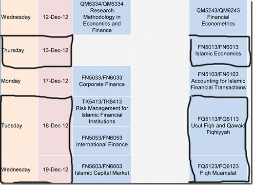 Student Class & Examination Schedule - September 2012 Semester.xlsx