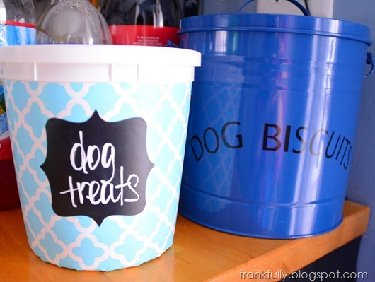 dog treat containers! one with chalkboard label, one from HomeGoods