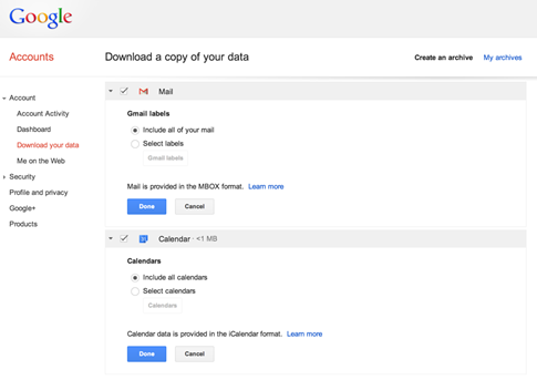 Descargar mis mensajes de Gmail con Takeout