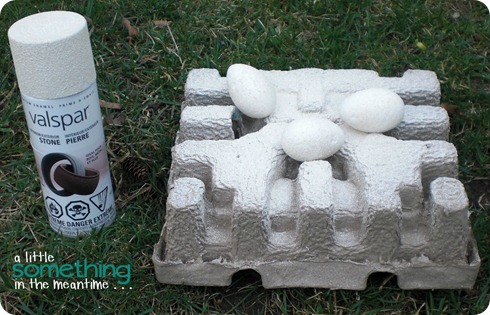 Spray paint styrofoam eggs