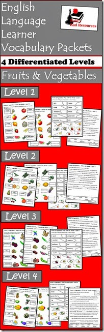 Vocab Packets - Fruits & Vegetables - Free download - Help your ESL students understand key vocabulary words in English using this differentiated vocabulary packet - from Raki's Rad Resources.