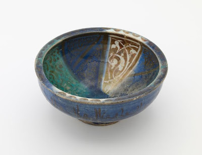 Bowl | Origin:  Iran | Period: 13th-14th century  Il Khanid period | Details:  Not Available | Type: Stone-paste decorated with lustre | Size: H: 9.4  W: 20.8  cm | Museum Code: F1908.163 | Photograph and description taken from Freer and the Sackler (Smithsonian) Museums.