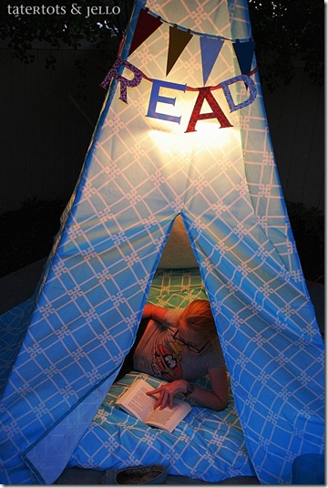 reading teepee at night from above