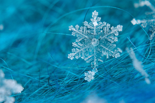 Close up of a snow flake, on a blue-green mohair scarf.