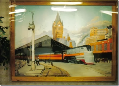 Painting in the Amtrak Station in Milwaukee, Wisconsin in May 2003