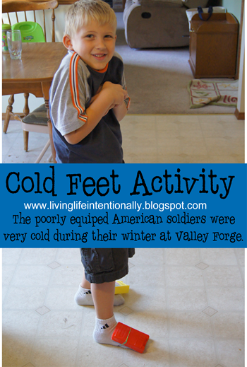 Valley forge Cold Feet Activity for Kids (Winter 1777-1778 )