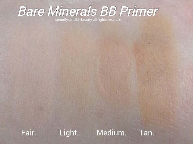 bareMinerals BB Cream Primer SPF 30; Swatches of Shades