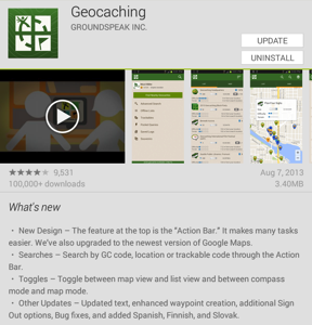 Geocaching version 3.0 for Android