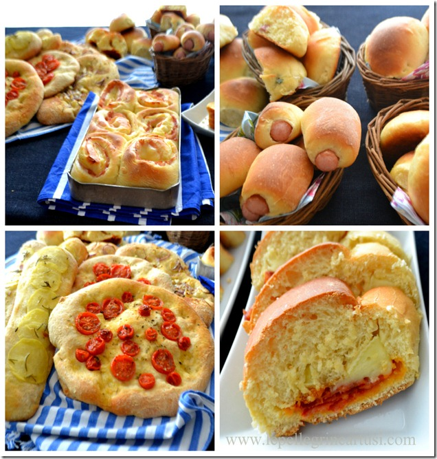 Collage pizze e brioche