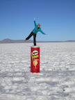Hails doing her best not to fall of the top of the can of pringles.