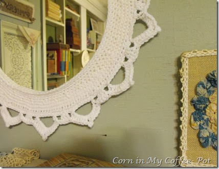 crocheted frame closeup