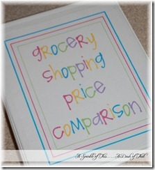 grocery shopping price comparison binder cover {A Sprinkle of This . . . . A Dash of That}