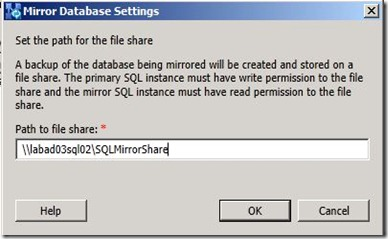 Lync 2013 - SQL Mir - publish - sql file share2