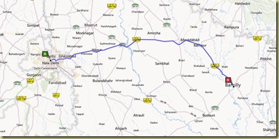 Route to Bareilly