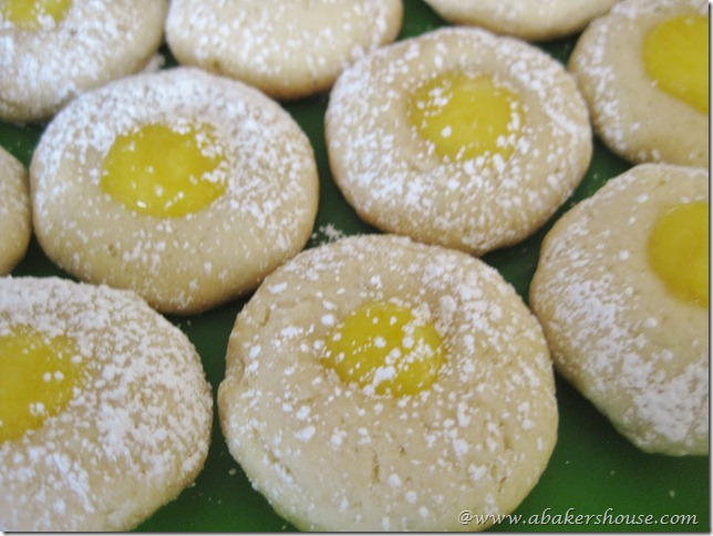 lemon curd plate of thumbprint cookies