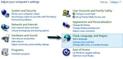control panel settings in windows8
