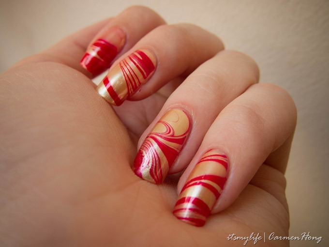 Nail Art: Golden Red Water Marbling | It\'s my life.