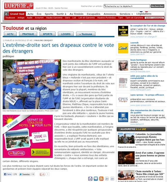 extrèma-dreita francesa en manifestacion dabans la prefectura