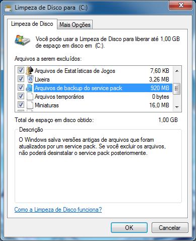 Marque a opção Arquivos de backup do service pack e clique em Ok.