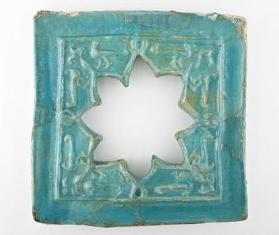Window Tile | Origin: Probably Iran | Period:  13th century | Collection: The Madina Collection of Islamic Art, gift of Camilla Chandler Frost (M.2002.1.343) | Type: Ceramic; Architectural element, Fritware, molded and glazed, 15 x 15 in. (38.1 x 38.1 cm)
