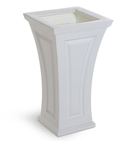 A pair of these tall white planters will create a dramatic look for your home's entryway. (homedepot.com)
