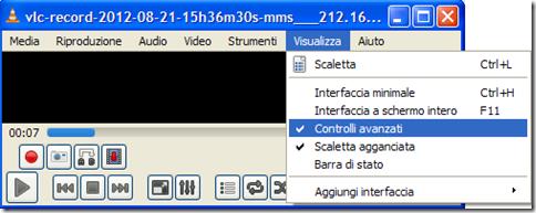 VLC Controlli avanzati pulsante Rec