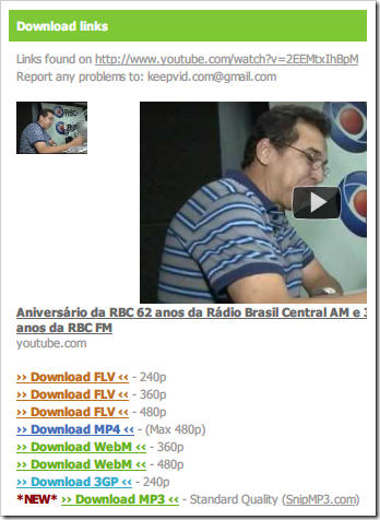 Download pelo KeepVid