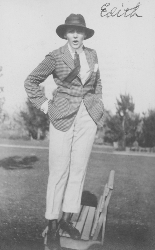 Dorothy Putnam's friend Edith in masculine attire. Undated.