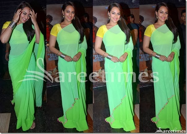 Sonakshi_Sinha_Green_Plain_Saree