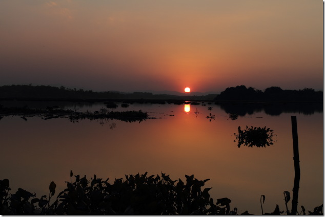 Sunset over Chiang Saen Lake