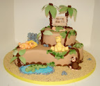 Jungle themed shower cake