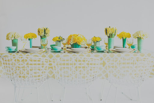 Why limit yourself to one fabric? Dress half of your tables in yellow oilcloth.