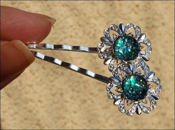 Turquoise Glitter Haarklammern 2