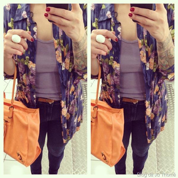 look jeans camisa floral e bolsa laranja (2)