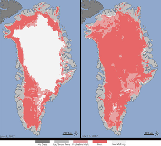 Greenland surface melt measurements from three satellites on July 8 (left panel) and July 12 (right panel), 2012. NASA, 2012