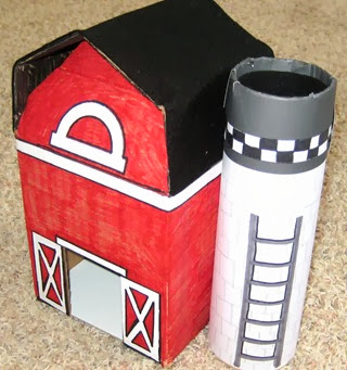 Cardboard Red Barn with Silo 3