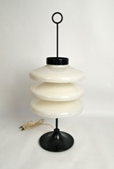 Heavy mid-century table lamp with a heavy lacquered metal base and acrylic shade