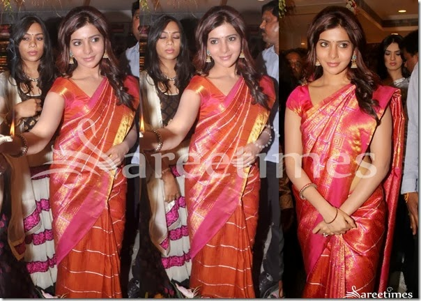 Samantha_Pink_Orange_Traditional_Silk_Saree
