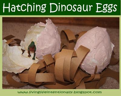 Hatching Paper Mache Dinosaur Eggs