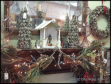 burlap tree mantel