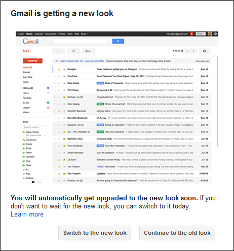 Change to New Gmail Look