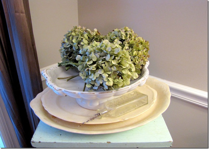 white plate with flowers