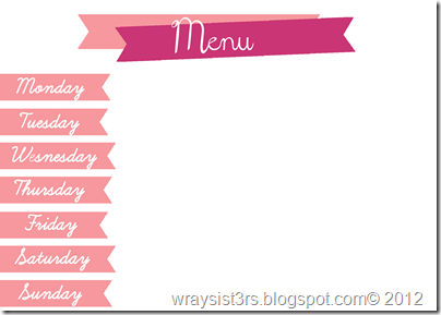 menu pink