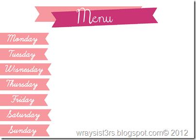 menu pink