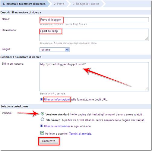 come personalizzare motore di ricerca blog blogger google