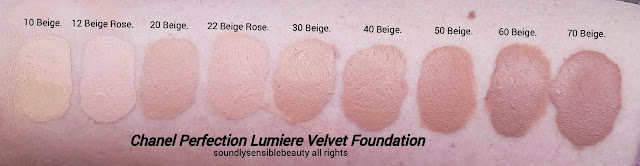 Chanel Velvet Matte Perfection Liquid to Powder Foundation; Swatches of Shades 10 Beige, 12 Beige Rose, 20 Beige, 22 Beige Rose, 30 Beige, 40 Beige, 50 Beige, 60 Beige, 70 Beige