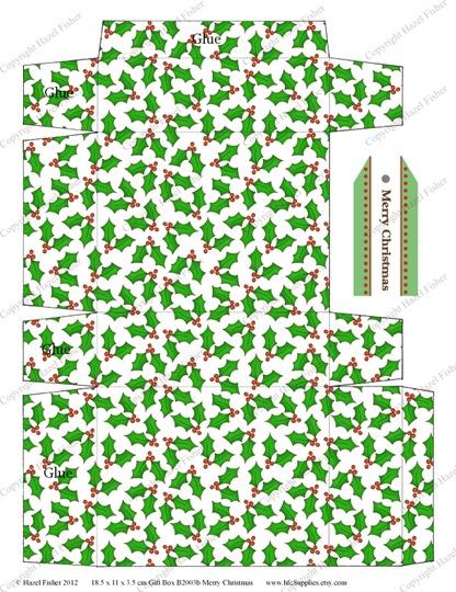 B2003 etsy 5 Merry Christmas printable gift box