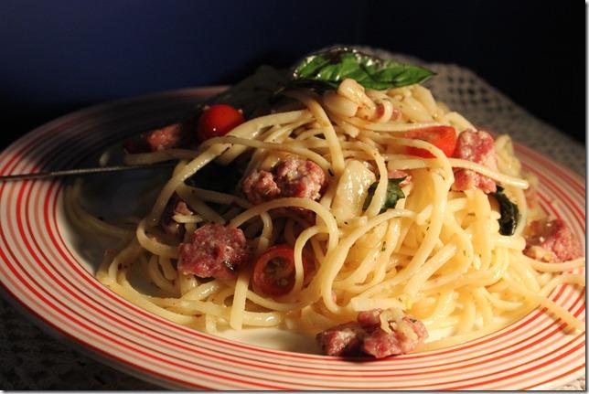 spaghetti aglio olio with cheese & salami